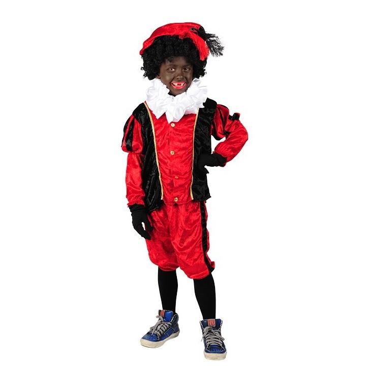 Zwarte Pietenpak voor kinderen rood/zwart