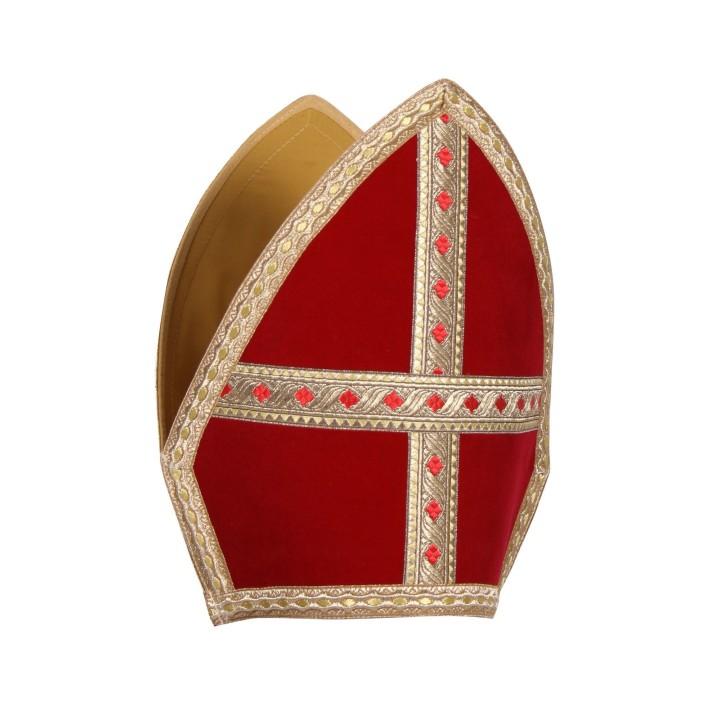 Sinterklaas mijter plat fluweel rood