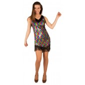 Charleston flapper jurk glitter sequin multi