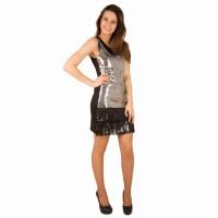 Charleston flapper jurk glitter sequin zilver