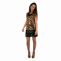 Charleston flapper jurk glitter sequin goud