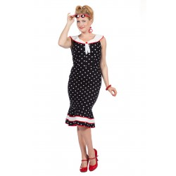 Rockabilly jurk zwart polkadot sailor Betty