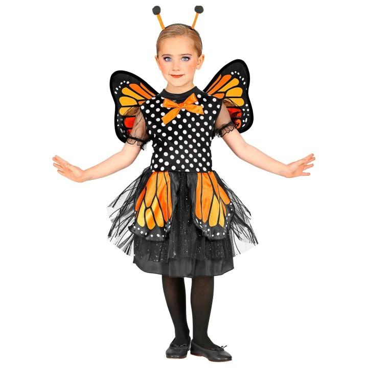 Vlinder kostuum kind oranje/zwart jurkje