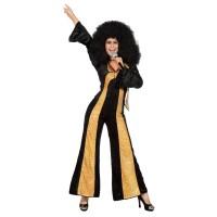 Disco jumpsuit dames zwart/goud