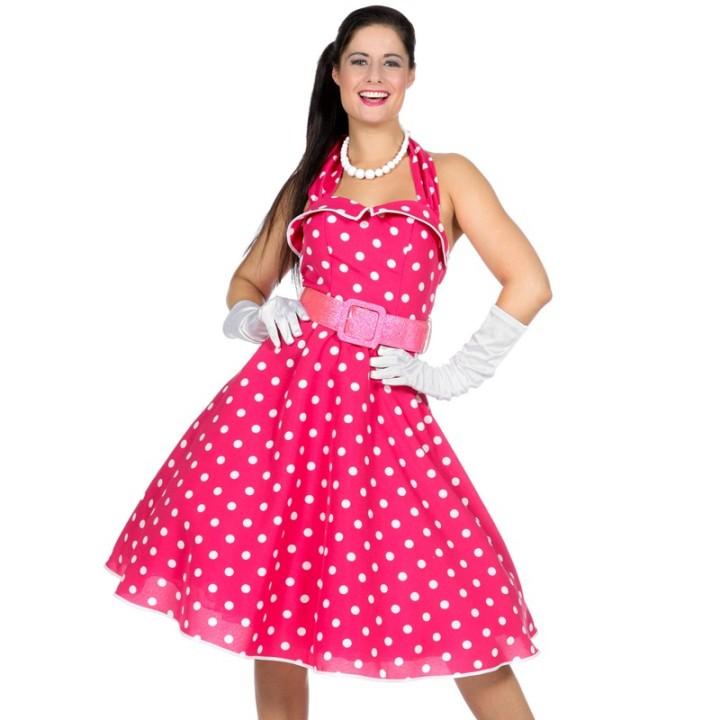 Jaren 50 jurk rock & roll pink dots