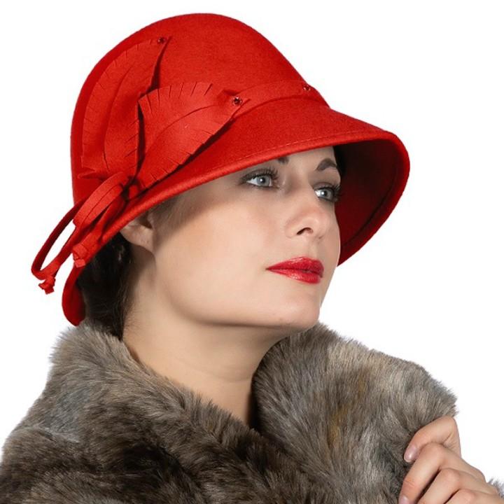 Roaring Twenties hoed dames rood vilt