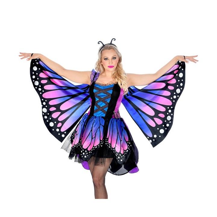Vlinder kostuum dames blauw/paars jurkje
