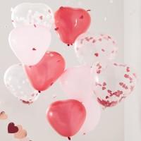Valentijn hartjes vorm ballonnen mix 10st