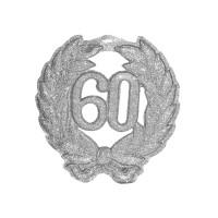 Wanddecoratie glitter zilver 60 jaar 45cm