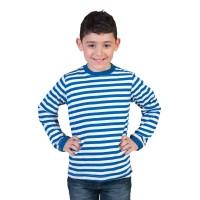 T-Shirt wit/blauw gestreept kind