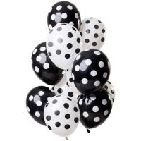 Ballonnen set mix polka dot zwart 12 st