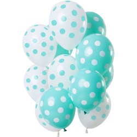Ballonnen set mix polka dot mint groen 12 st