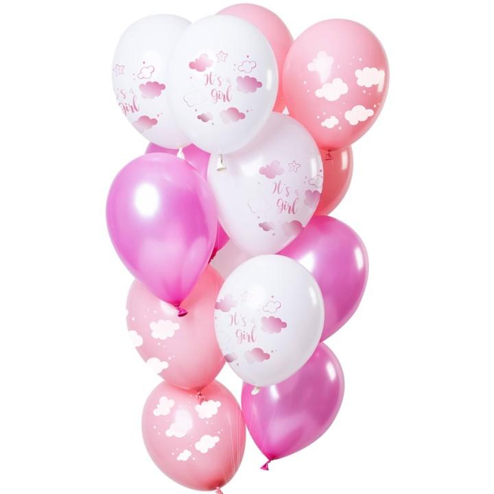 Ballonnen set mix it's a girl roze 12 st