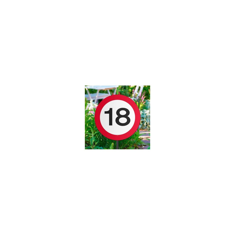 18 jaar verjaardag versiering verkeersbord tuinbord