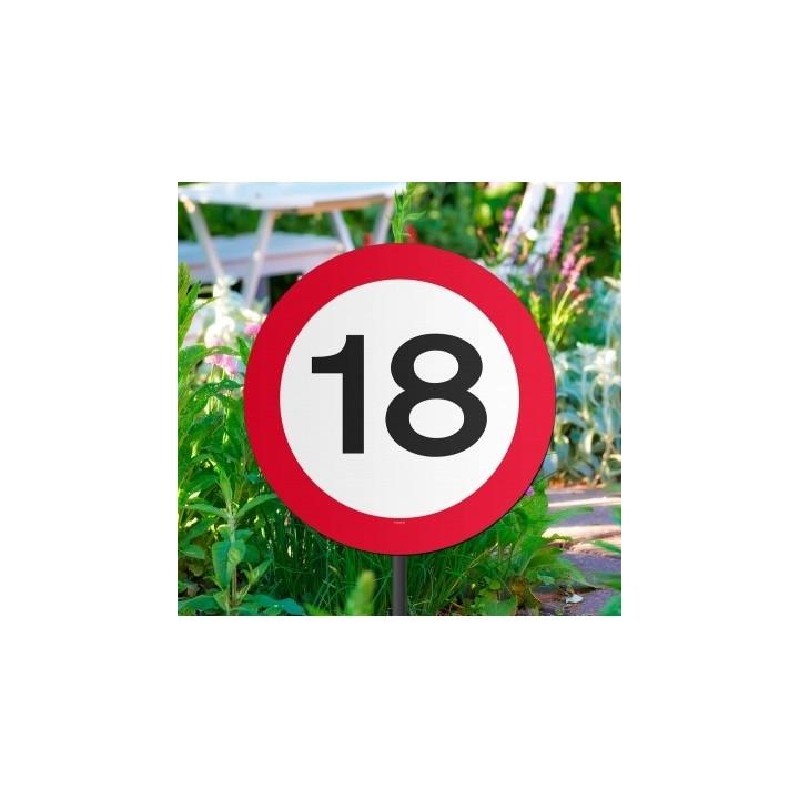 Verjaardag tuinbord verkeersbord 18 jaar