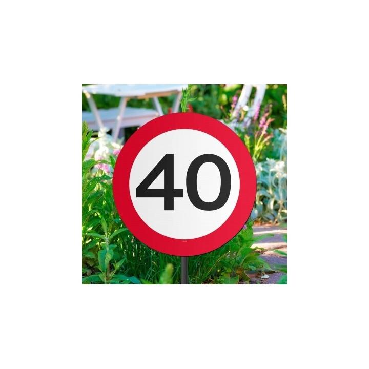 Verjaardag tuinbord verkeersbord 40 jaar
