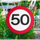 50 jaar verjaardag versiering verkeersbord tuinbord