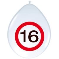 Verjaardag ballonnen verkeersbord 16 jaar