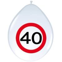 Verjaardag ballonnen verkeersbord 40 jaar