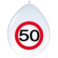 Verjaardag ballonnen verkeersbord 50 jaar