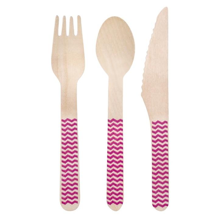 Houten bestek set Pink Wave 18-delig