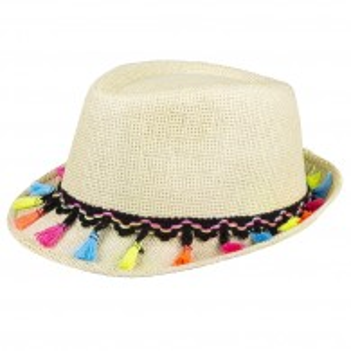 Peruaanse stro hoed met tassels Lima