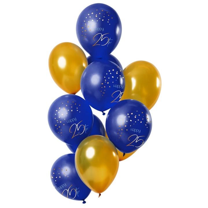 """Verjaardag ballonnen Happy """"25th"""" blauw 12st"""