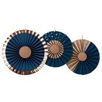 Waaier decoraties blauw brons setje 3st