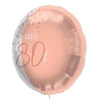 """Folie ballon """"Happy 80th"""" roze 45cm"""