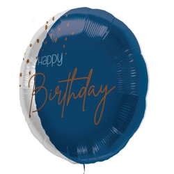 Folie ballon Happy Birthday blauw 45cm