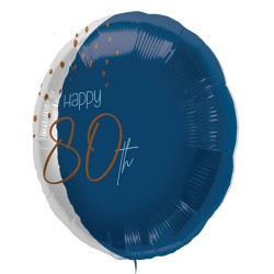 "Folie ballon ""Happy 80th"" blauw 45cm"