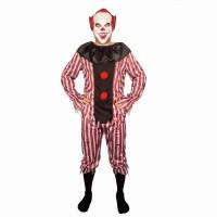 Killer clown kostuum rood/wit volwassenen