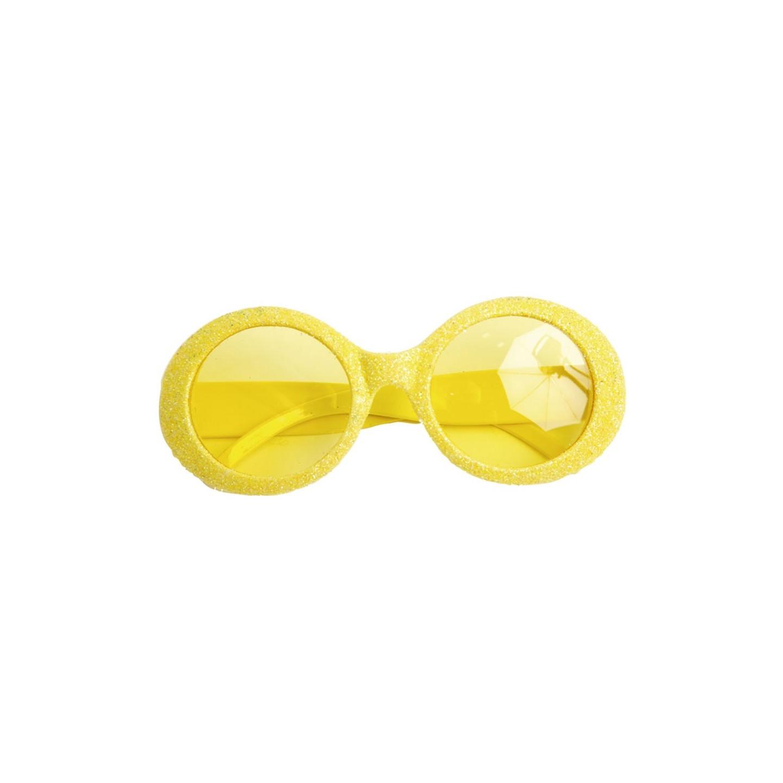 Bril glitter neon geel