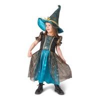 Heksen jurk kind petrol blauw Halloweenpakje