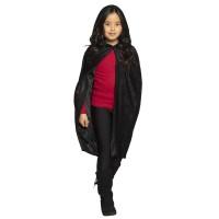 Zwarte kinder cape met kap Dawn 115 cm