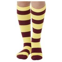 Gestreepte sokken bordeaux/geel kniesokken