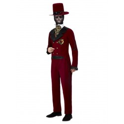 Day of the Dead bruidegom bordeaux rood