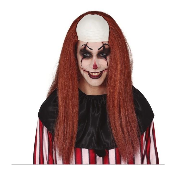 Clown pruik kaalkop met bruin haar