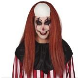 clown pruik kaalkop bruin haar