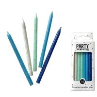 Glitter kaarsen blauw assorti 16 stuks
