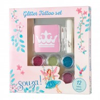 Kinder glitter tattoo set met 12 stencils
