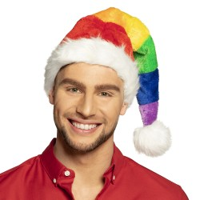 Kerstmuts pluche regenboog