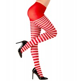 Gestreepte panty rood wit