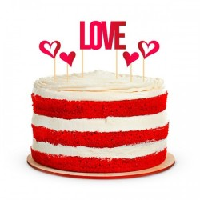 Taart toppers Valentijn Love Hart rood