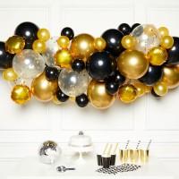 DIY ballonnen slinger pakket zwart goud 66dlg