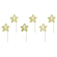 Cupcake toppers 1ste verjaardag ster goud