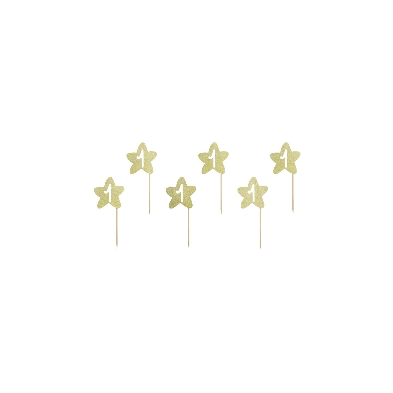 cupcake topper ster eerste verjaardag goud