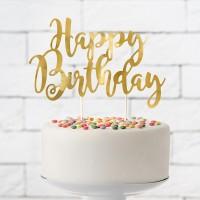 Taart topper Happy Birthday goud 22,5cm