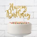 Taart topper happy birthday verjaardag goud