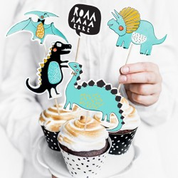 cupcake toppers dino taarttoppers